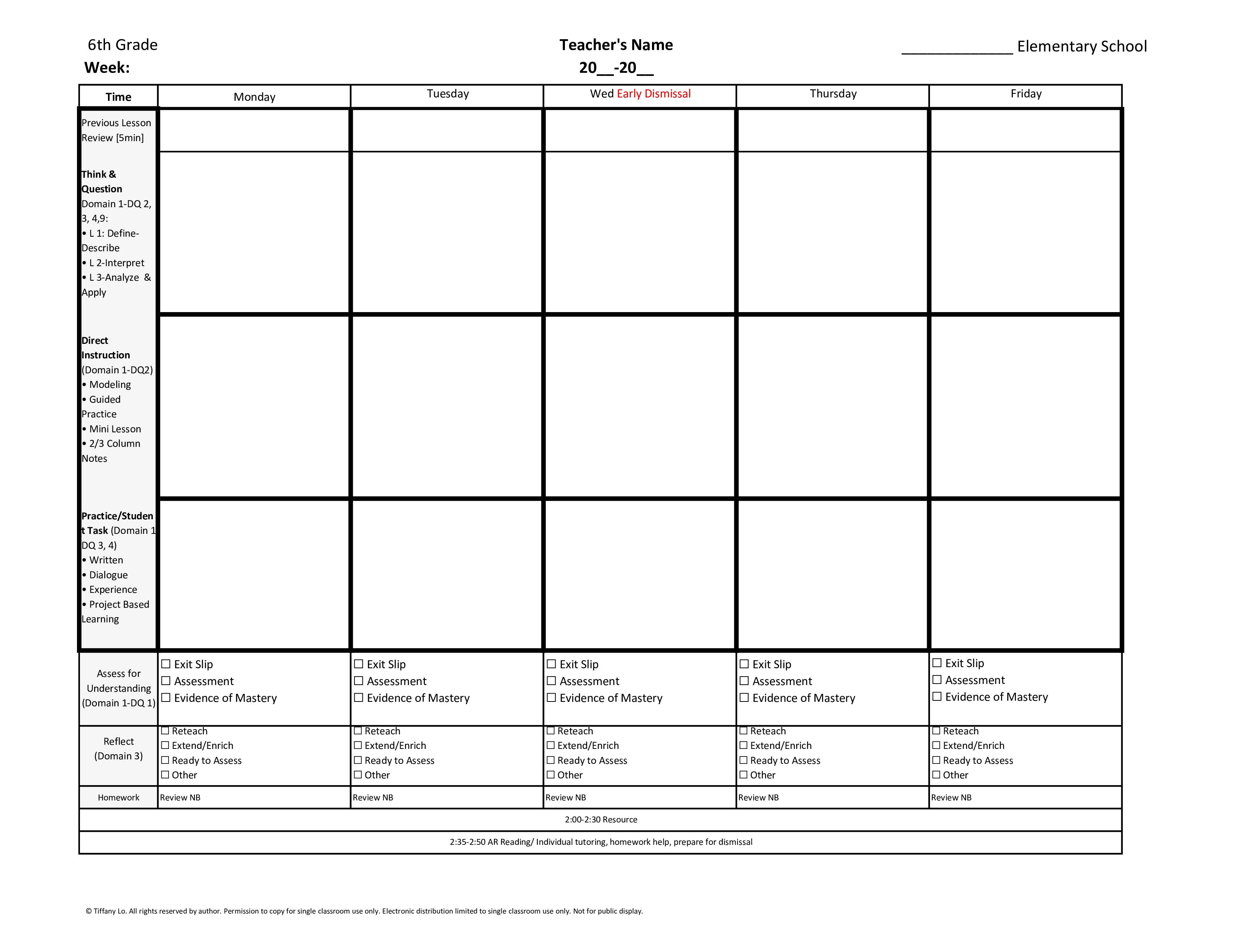 001 Fl 6Th Lessonplantemplate Tutor Lesson Plan ~ Tinypetition in Tutoring Template To Fill Out Weekly