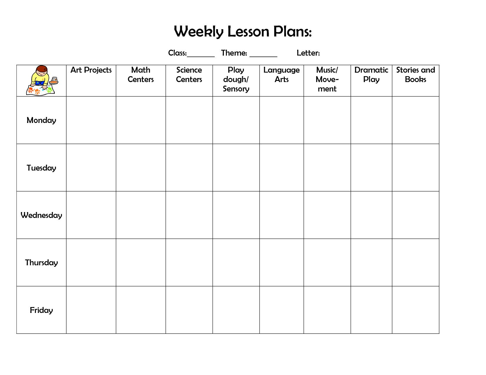 002 Free Preschool Weekly Lesson Plan Template Top Templates inside Free Preschool Template For Schedule