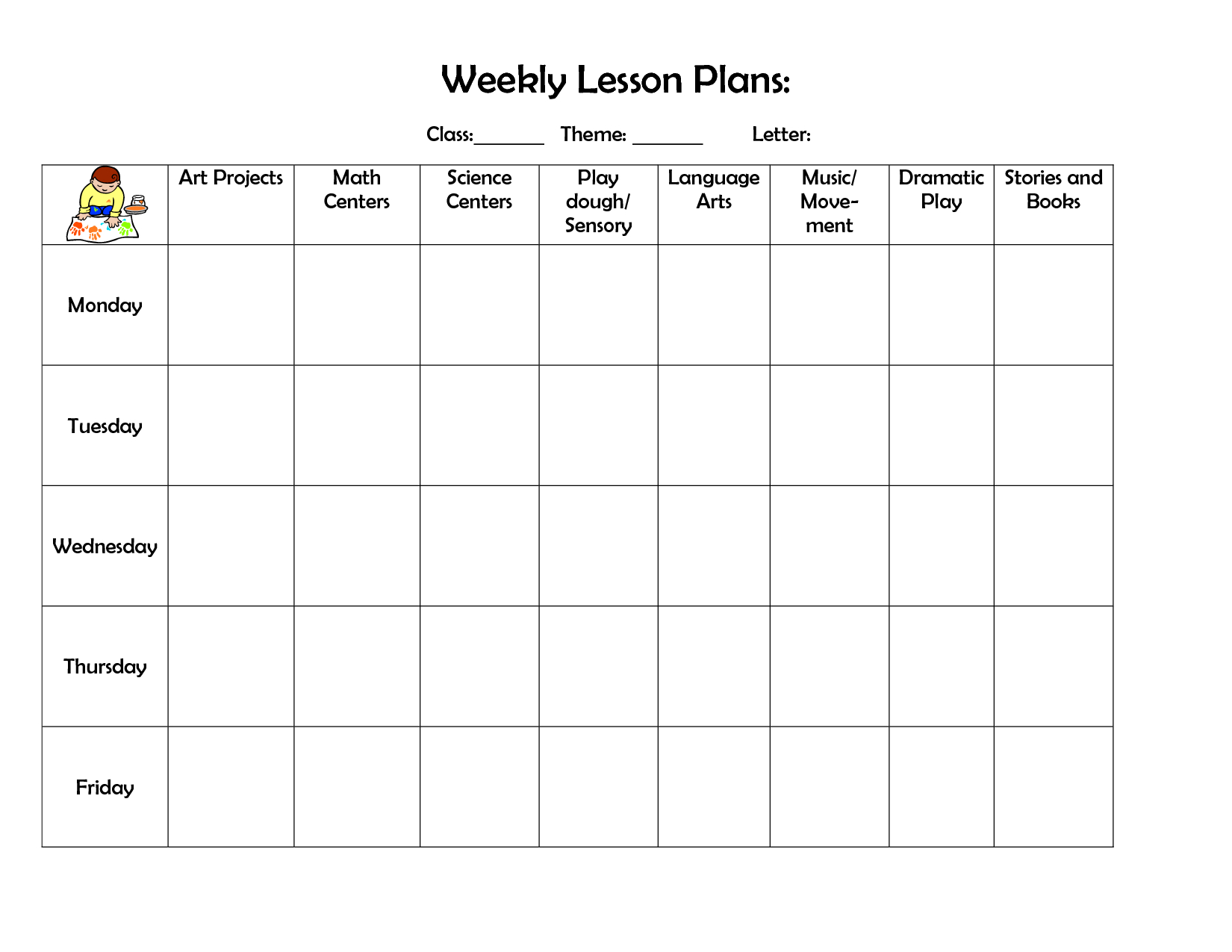 002 Free Preschool Weekly Lesson Plan Template Top Templates throughout Lesson Plan Template Printable Monthly