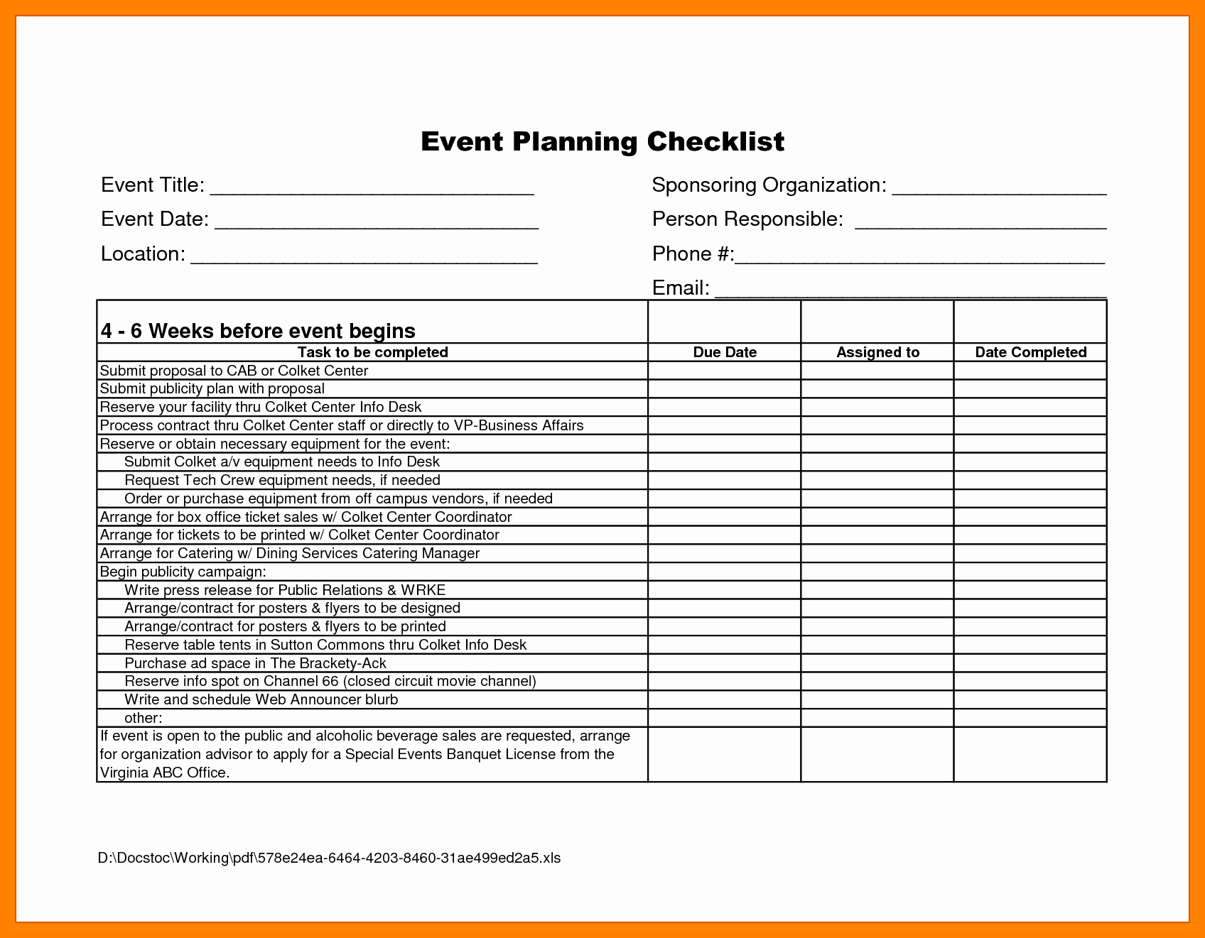 004 Corporate Event Planning Checklist Template Spreadsheet Vendor with Corporate Event Planning Checklist Template