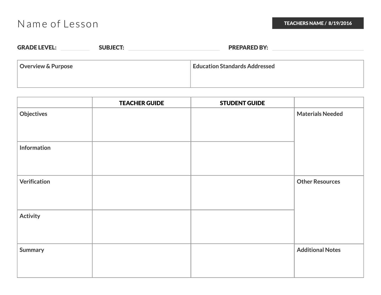 005 Basic Lesson Plan Template Templates Stunning Pdf Free Format within Basic Lesson Plan Template Printable