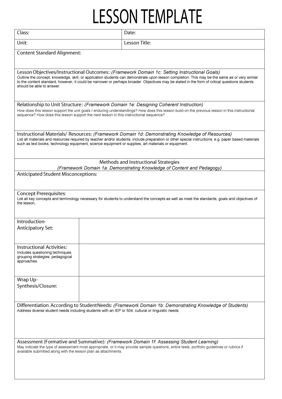 005 Simple Lesson Plan Template ~ Tinypetition pertaining to Basic Lesson Plan Template Printable