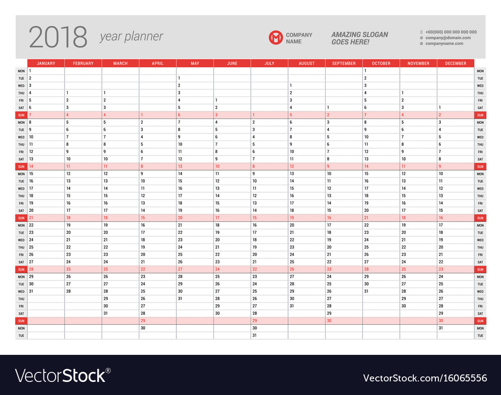 008 Plan Template Yearly Wall Calendar Planner For Vector Annual pertaining to Yearly Planning Calendar Template For -2019