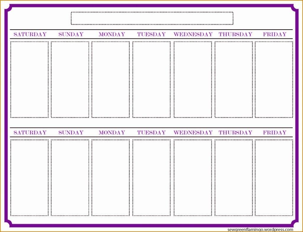 009 Template Ideas Two Weeks Calendar Week Blank Printable Weekly for 2 Week Schedule Template Mon- Sunday