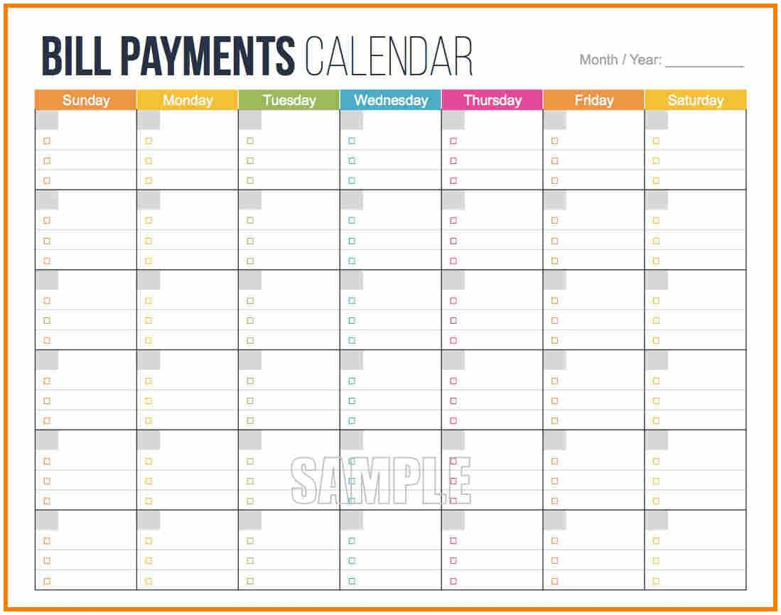 011 Template Ideas Bill Payment Schedule Post Navigation Monthly regarding Free Weekly Bill Payment Template