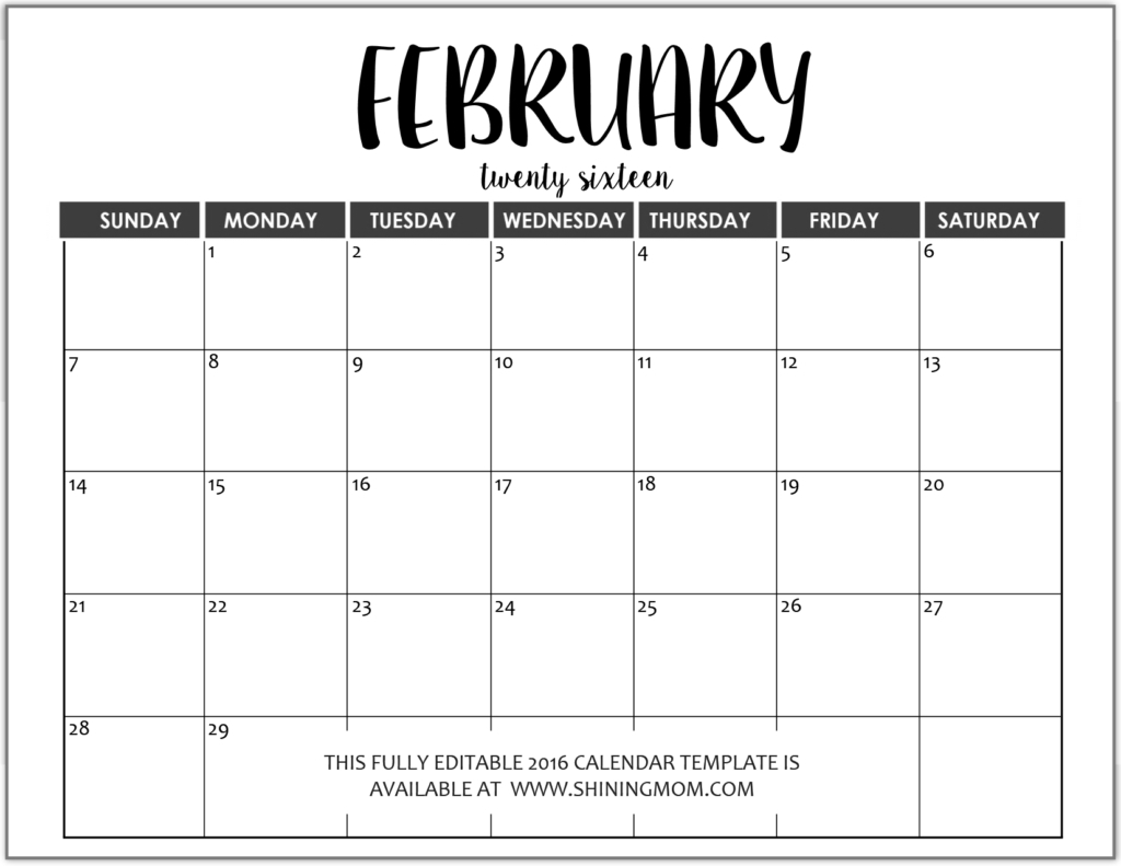 012 Monthly Calendar Templates Free Editable Fully February In Ms with regard to Free Editable Monthly Calendar Template