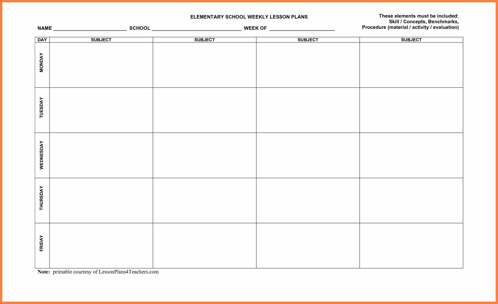 013 Lesson Plan Template Free Plans Templates Printable Weekly with Lesson Plan Template Printable Monthly