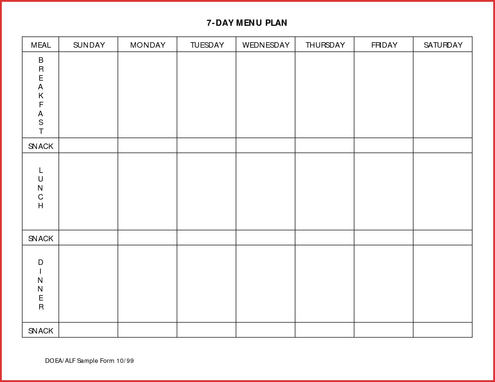 014 Meal Planning Calendar Template Plan Templates Day Menu Planner for 7 Day Calendar Template Free