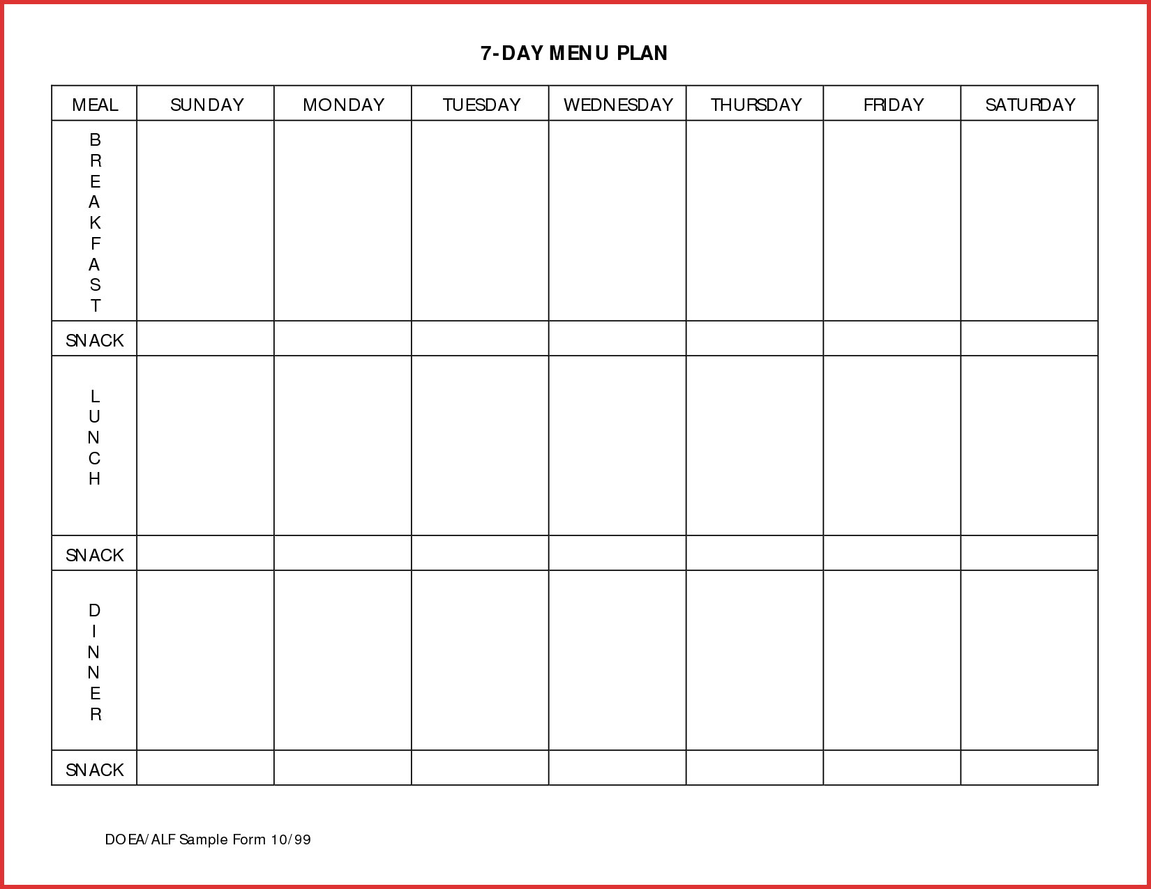 014 Meal Planning Calendar Template Plan Templates Day Menu Planner regarding Printable Calendar Template Week Day Only