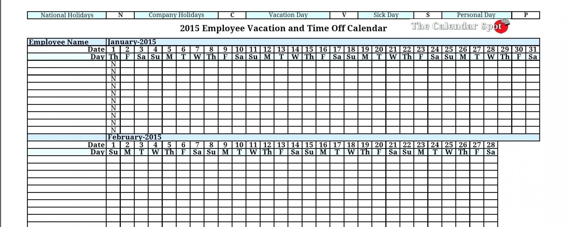 014 Vacation Spreadsheet Template Pertaining To Employee Planner with regard to Calendar Template Excel Vacations