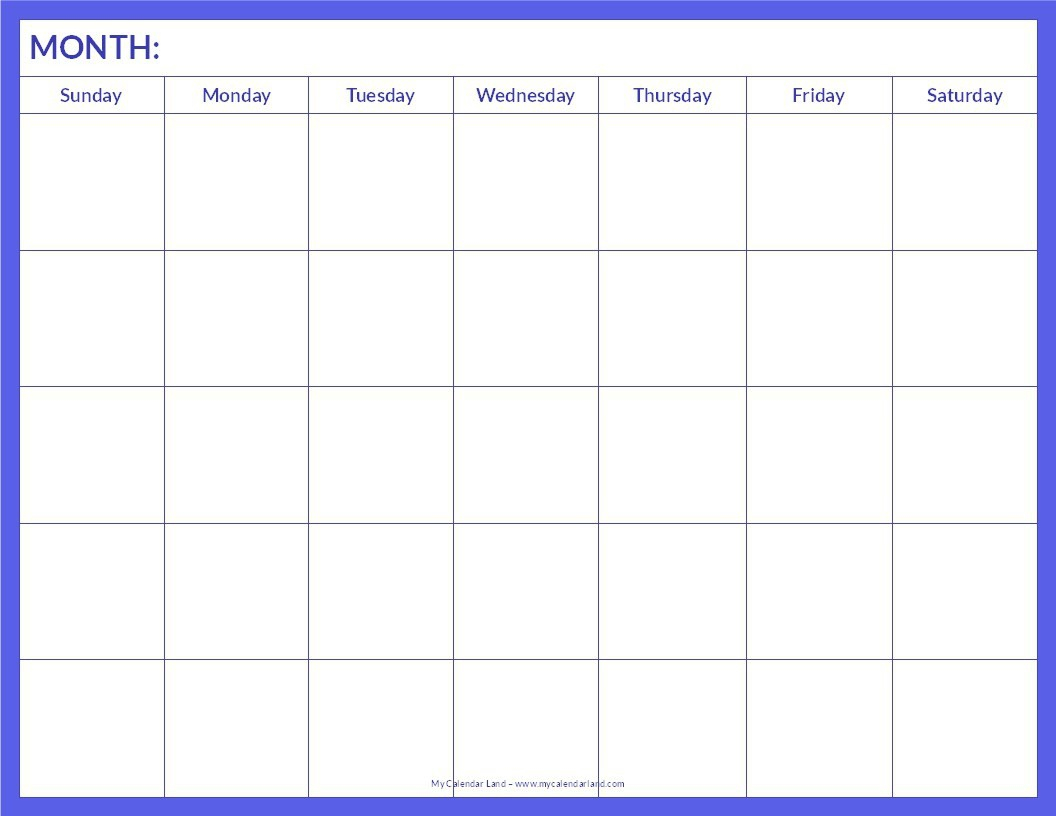 018 Blank Calendar Template Pdf Ideas Free Monthly Printable Word throughout Blank Monthly Calendar Template