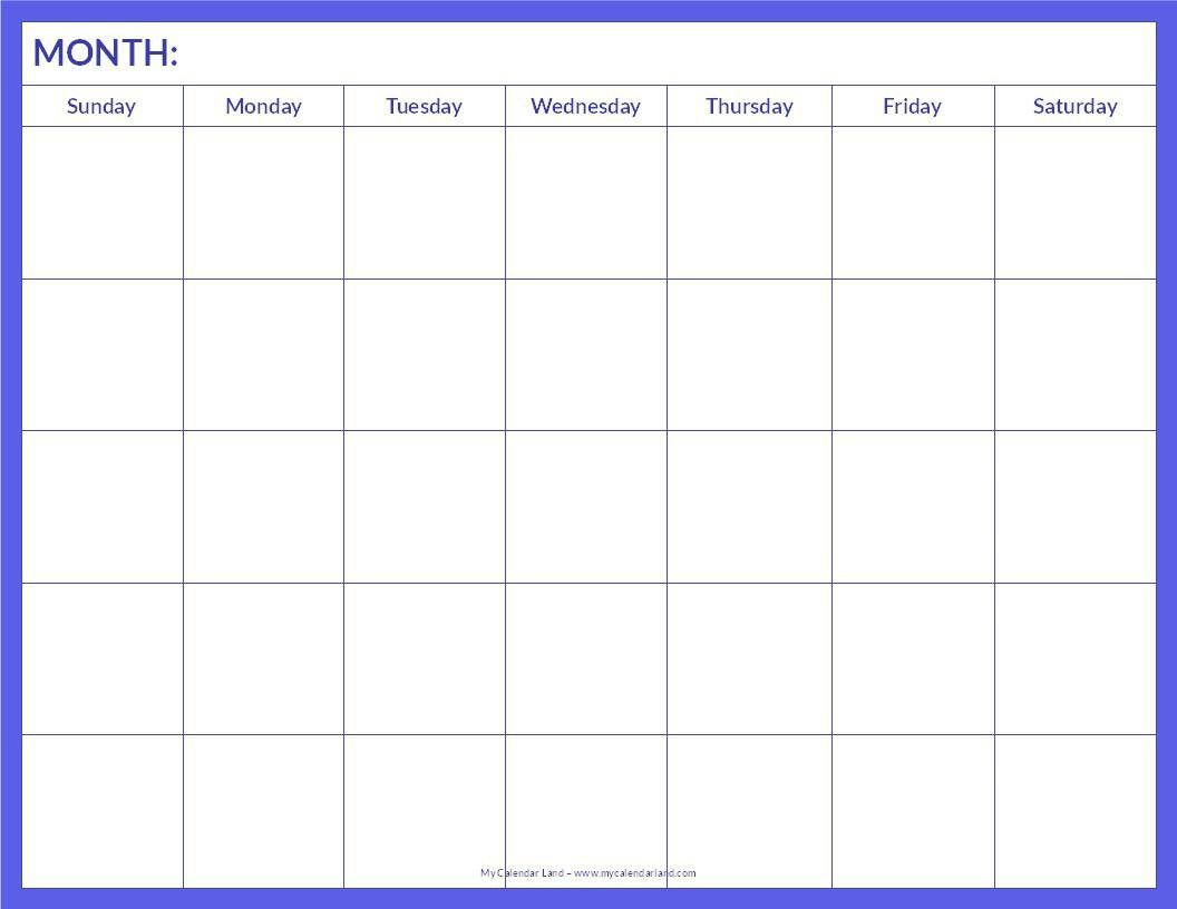 018 Blank Calendar Template Pdf Ideas Free Monthly Printable Word within Monthly Calendar Printable Blank Pdf