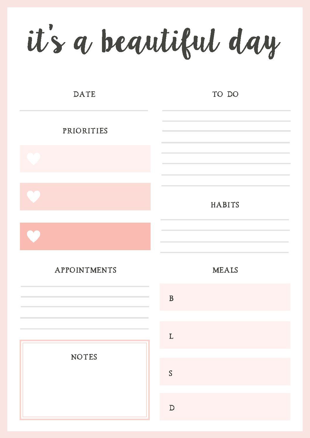 018 Daily Planner Template Printable Personal Pdf Fantastic Ideas within Printable Daily Planner Template