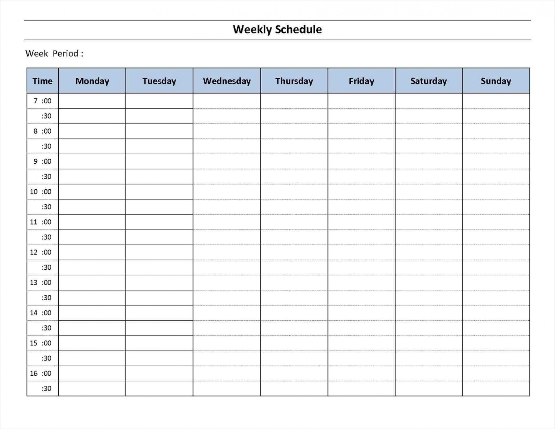 018 Free Printable Weekly Calendar Templates Planner For Time inside Free 7 Day Work Schedule Template Pdf