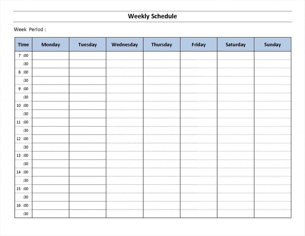 018 Free Printable Weekly Calendar Templates Planner For Time within 7 Day Calendar Template Free