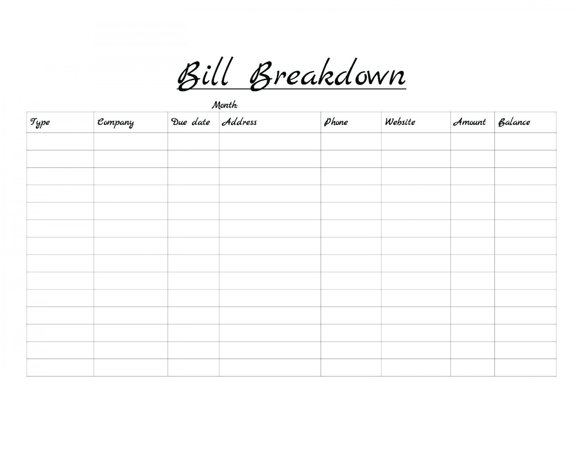 023 Printable Bill Payment Schedule Monthly Bills Template Free in Templates Free To Pay Bills