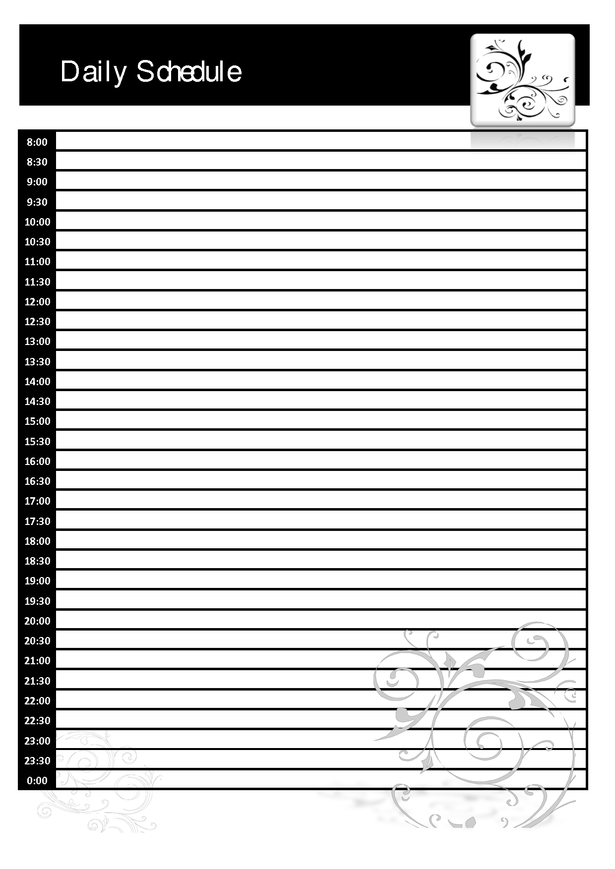 024 Daily Planner Template Printable Ideas Blank Schedule 128247 with Cute Blank Day Calender Templates