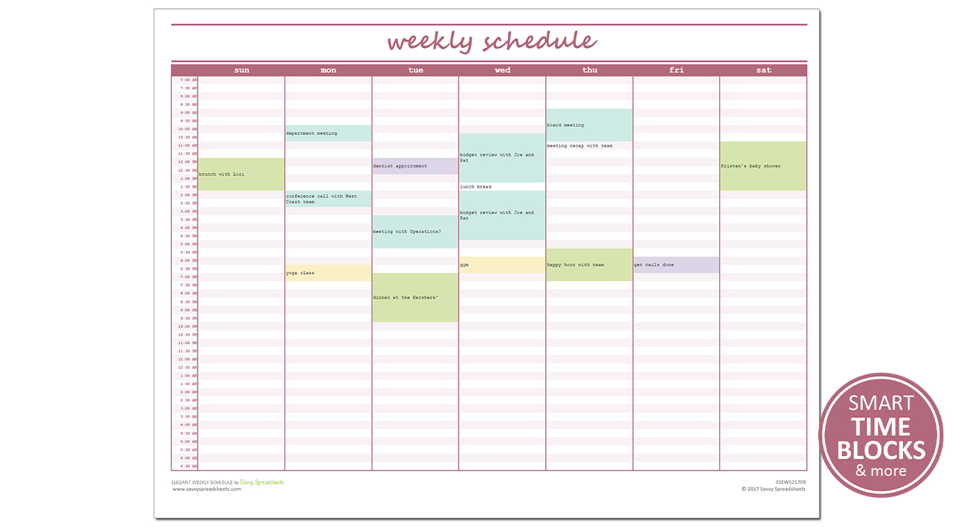 026 20Elegant Weekly Schedule Savvy Spreadsheets Preschool Lesson within Free Preschool Template For Schedule