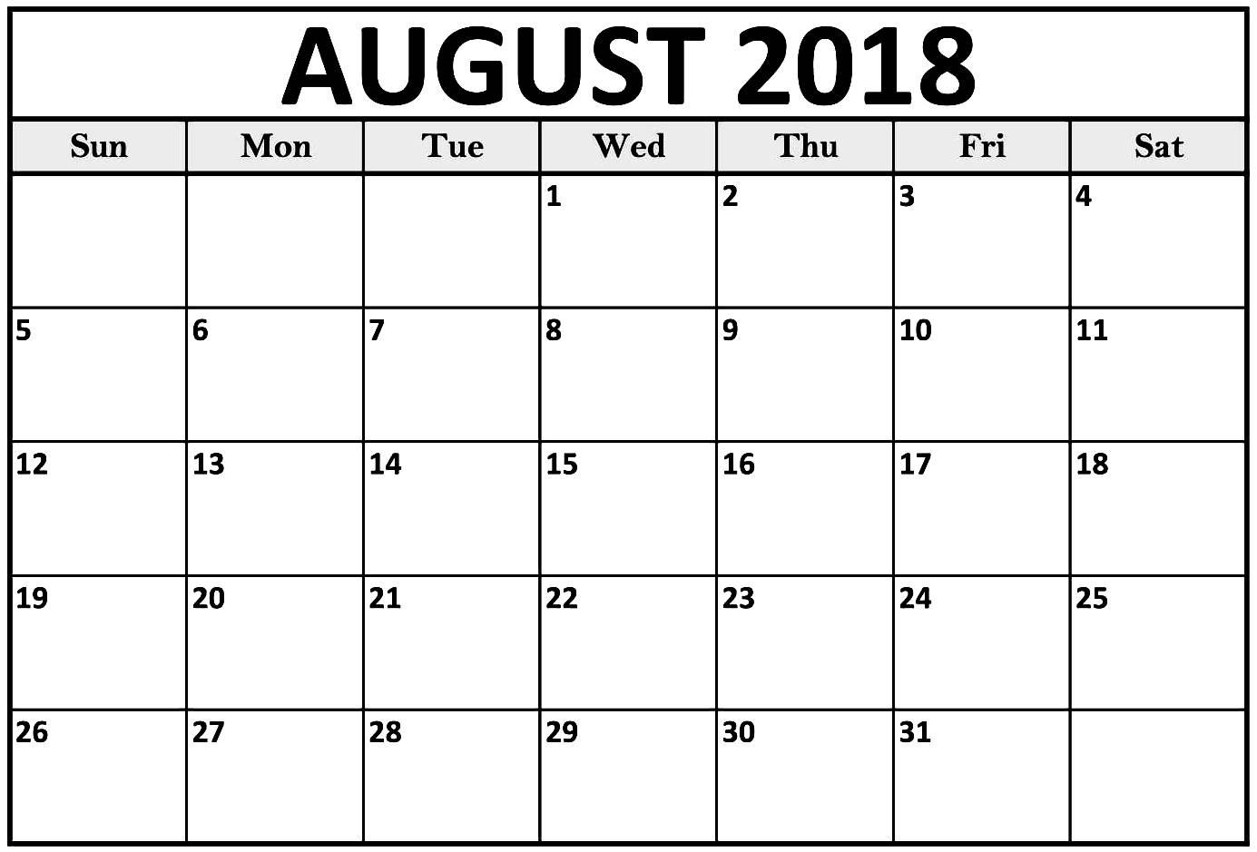031 August Printable Calendar Outstanding 2018 Word Canada December for Blank Calendar August Template Australia
