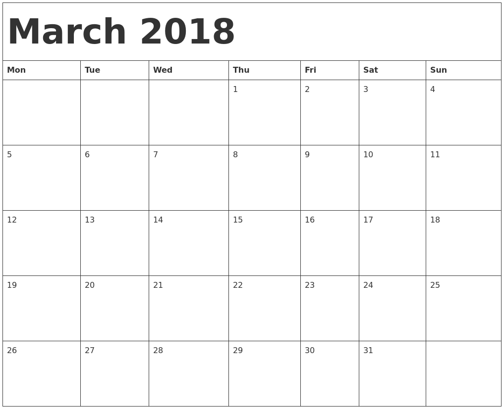 034 Printable Calendar Word March Template Monday Start Cfoyps throughout Monthly Calendar Template Printable December Start Monday
