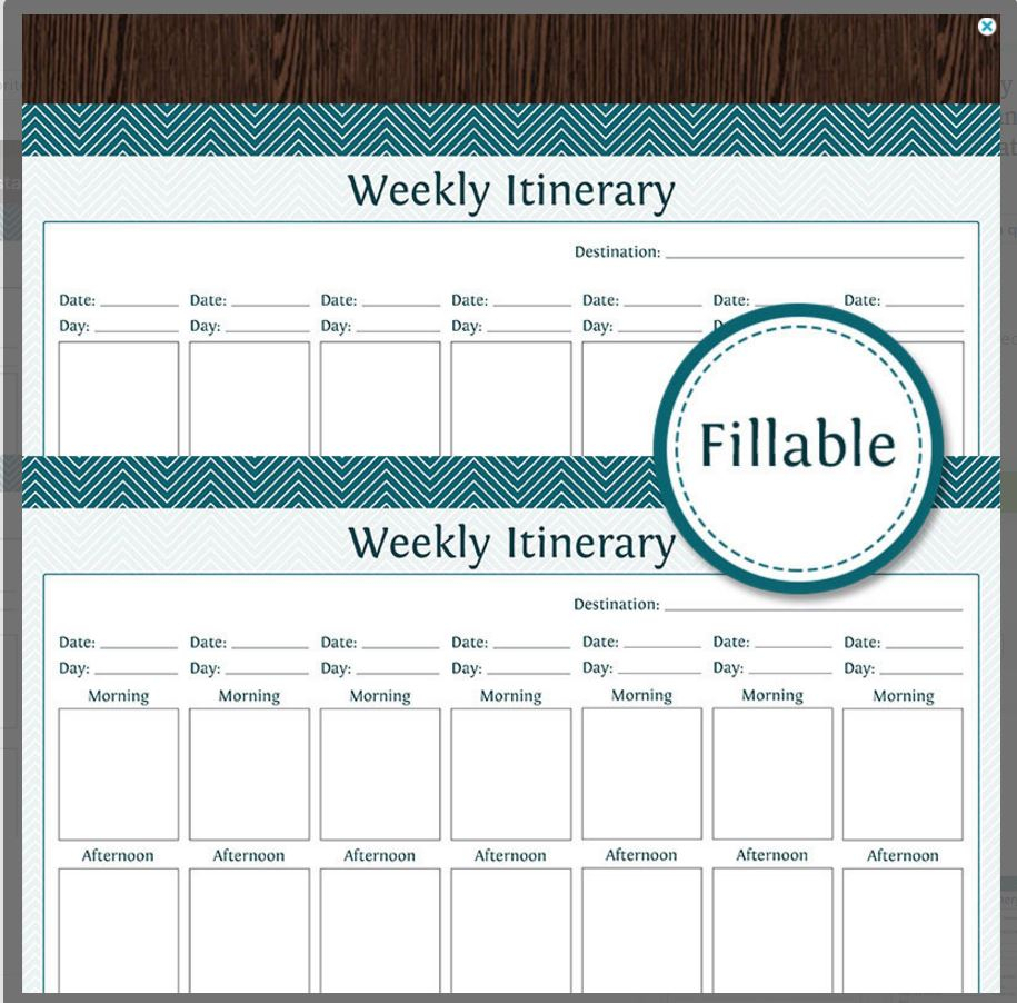 10 Itinerary Template Examples | Templates Assistant pertaining to 10 X 8 Planner Template