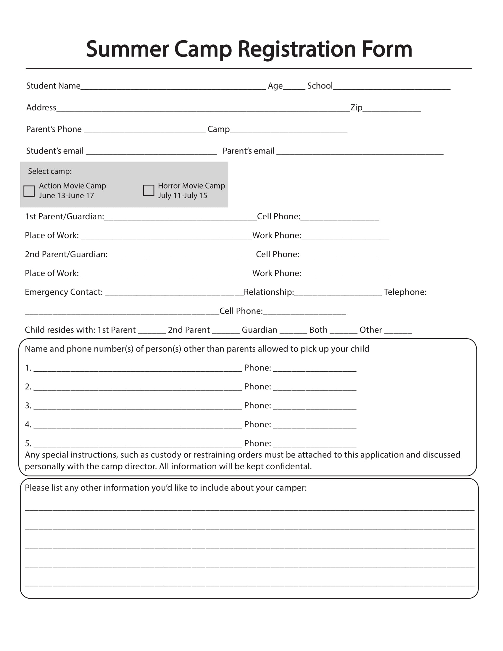 10+ Printable Summer Camp Registration Forms - Pdf throughout Free Download Blank Summer Camp Application