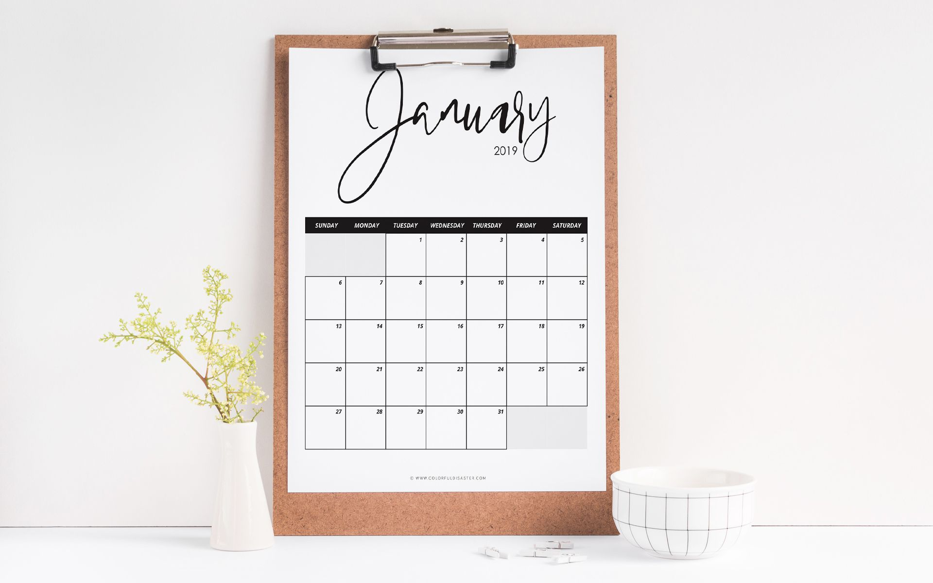 10 Stylish Free, Printable Calendars For 2019 in Free Printable Preschool Handprint Calendar Templates