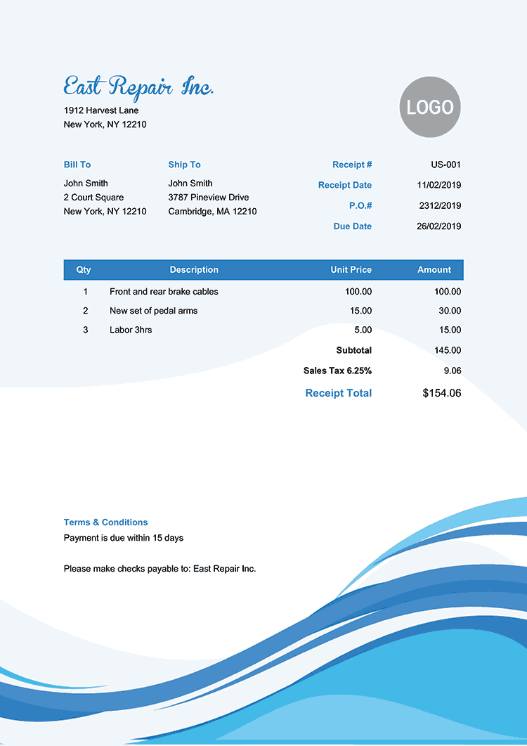 100 Free Receipt Templates | Print & Email Receipt | Free Downloads in Blank Printable Bill Payment Planner
