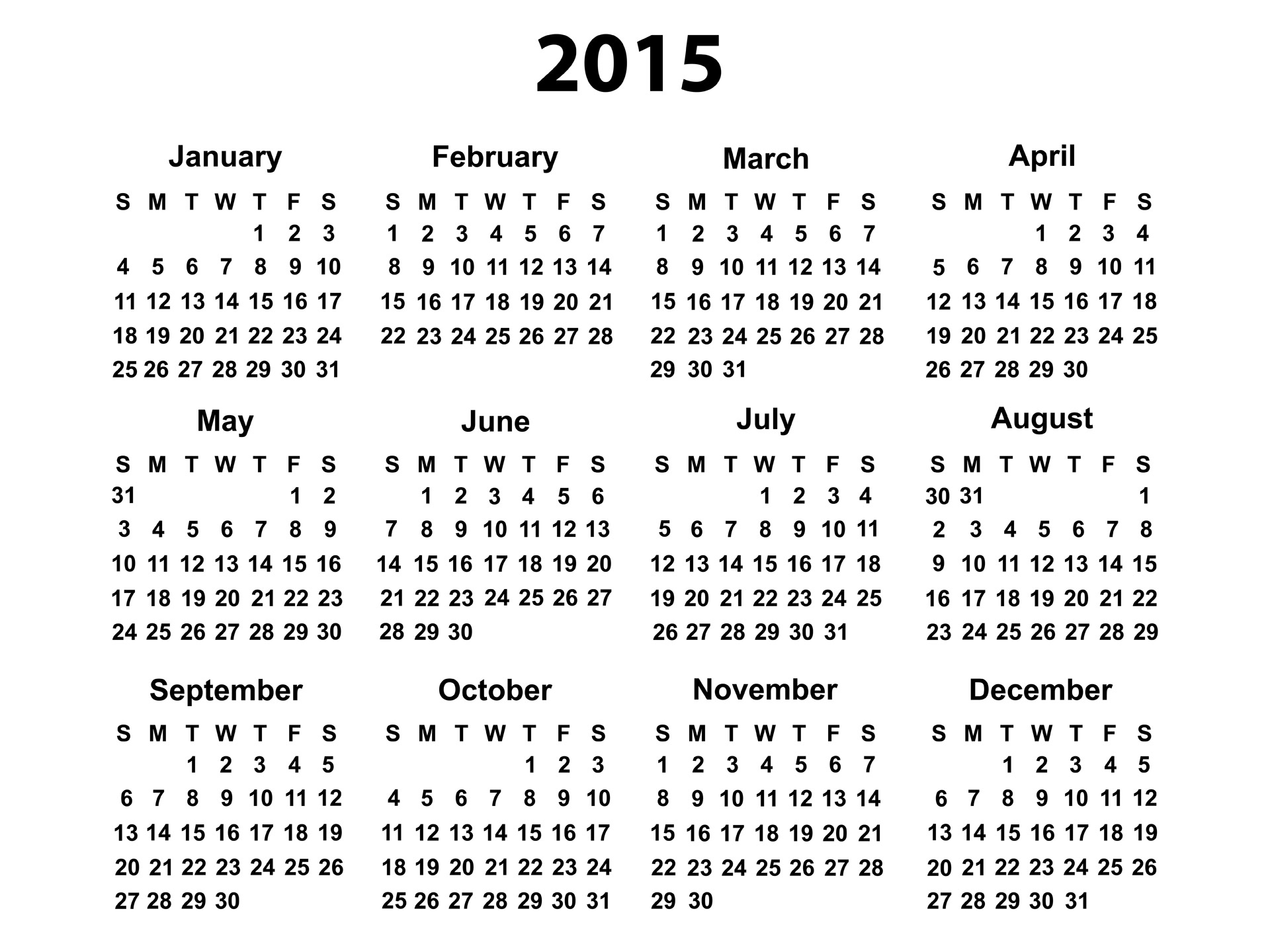 12 2015 Yearly Calendar Template Images - 2015 Calendar, 2015 Yearly for 2014 12 Month Blank Calendar