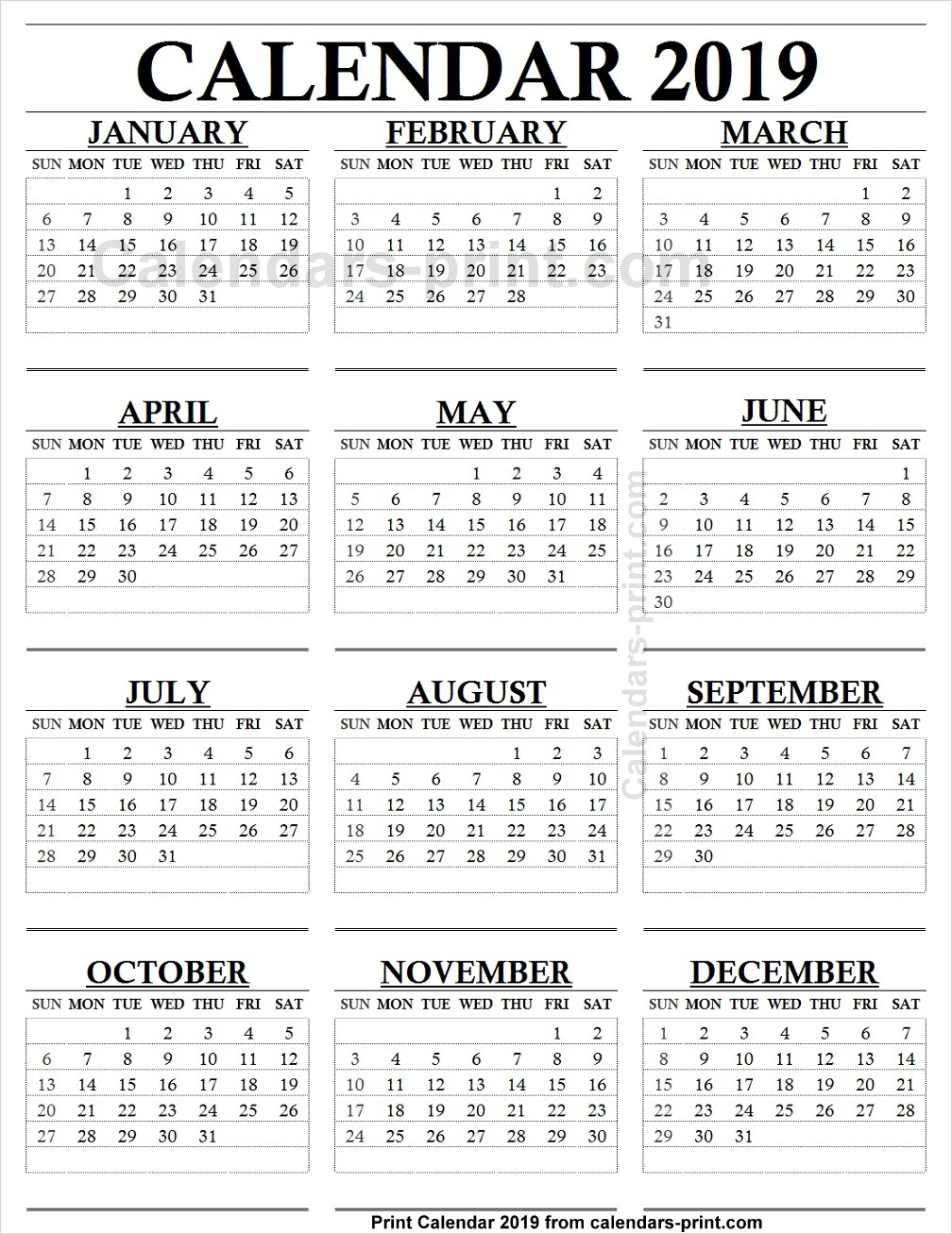 12 Month Calendar 2019 One Page To Print Free | Blank Pdf Template throughout Monthly Calendar Templates 12 Months