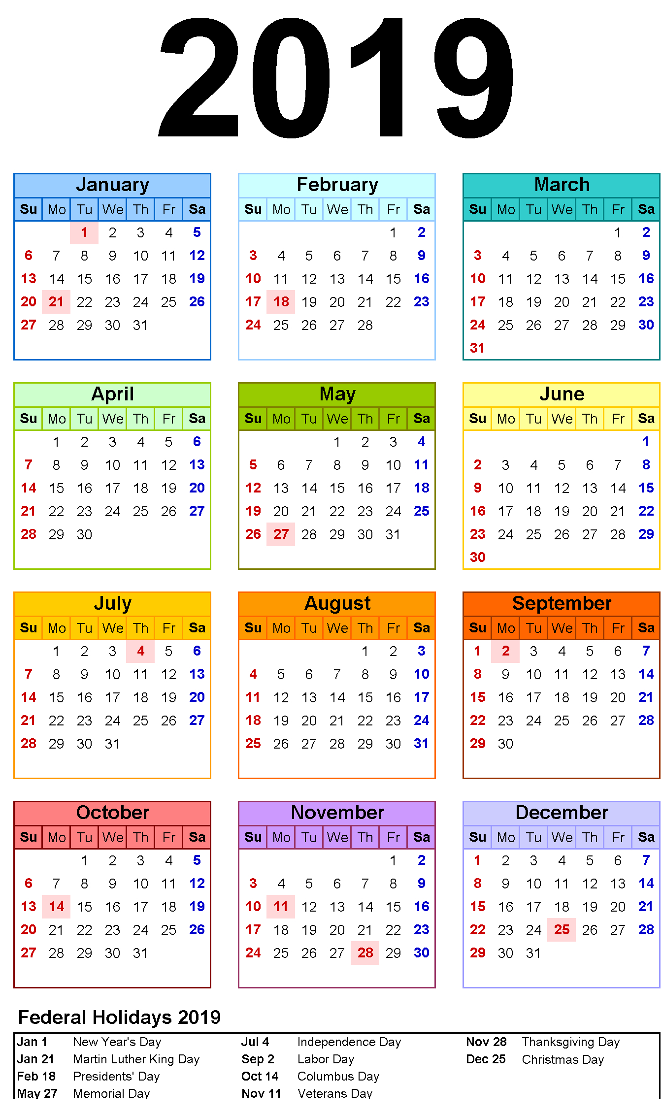 12 Month Calendar In One Page #2019Calendar #holidayscalendar throughout National Day Calendar 2020 Printable
