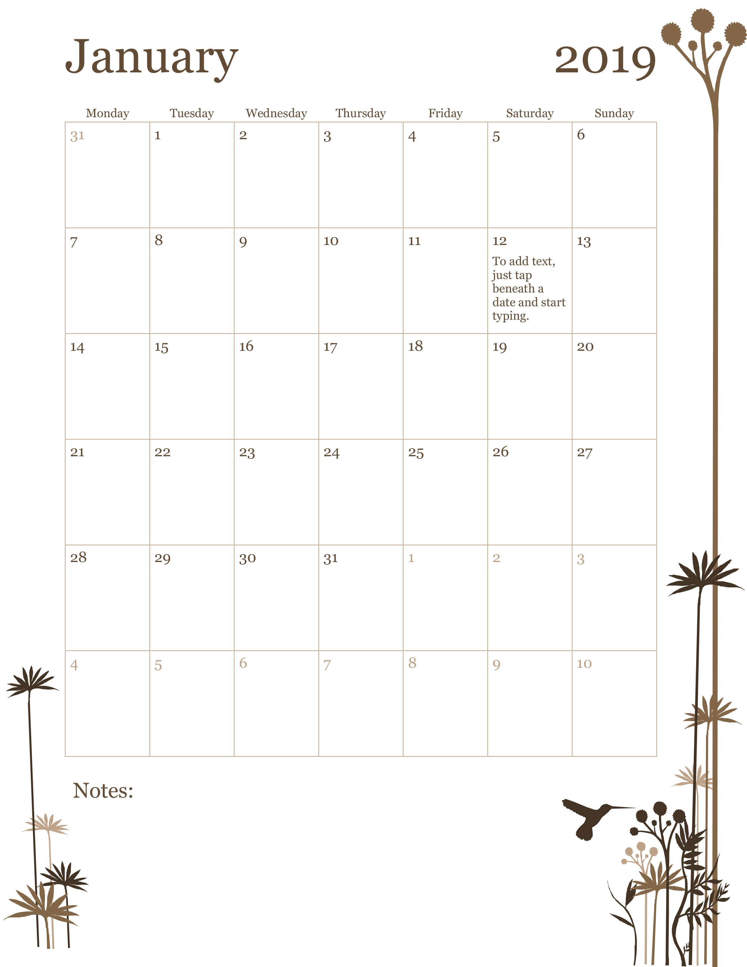12-Month Calendar (Mon-Sun) pertaining to Printable Work Calendar Monthly Template