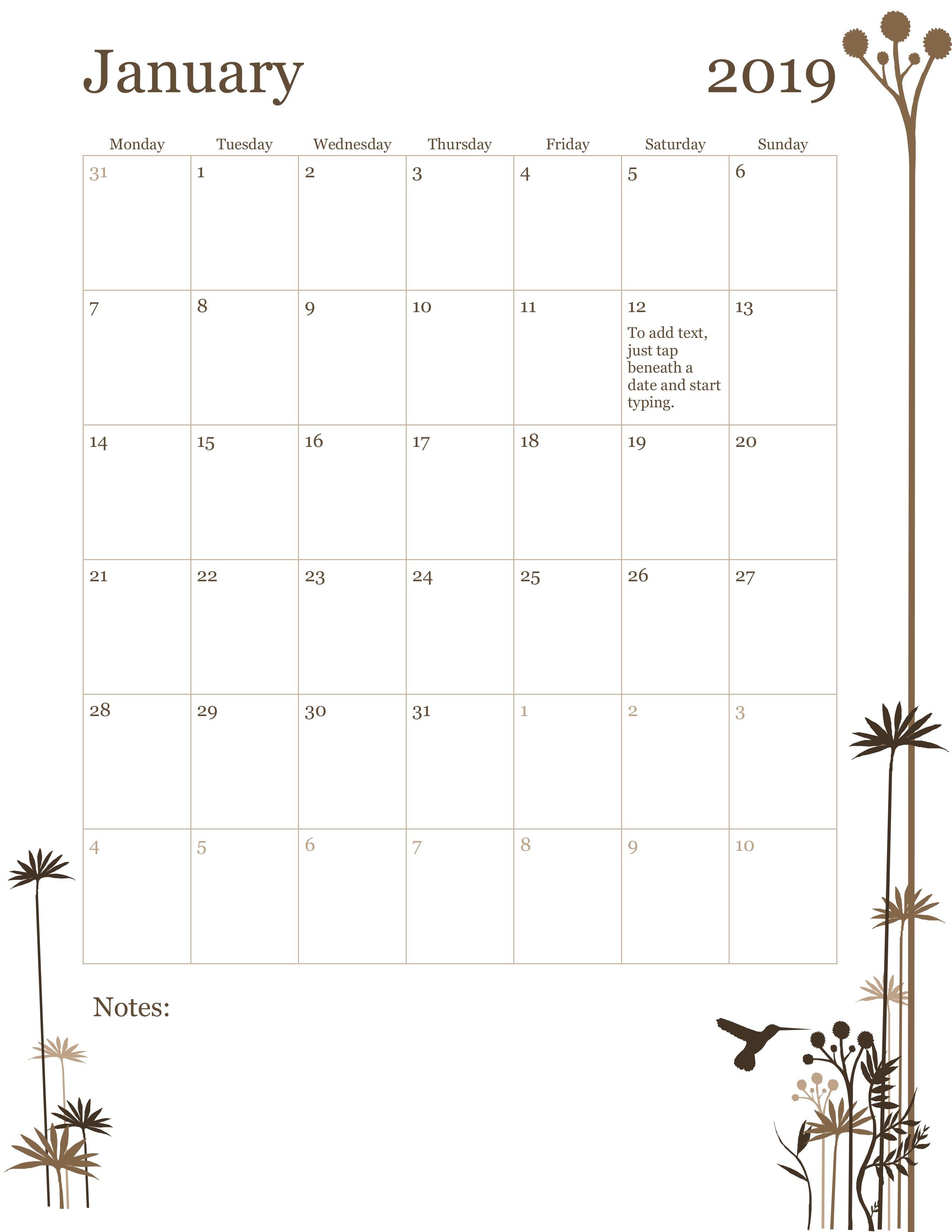12-Month Calendar (Mon-Sun) regarding Template For Calendar By Month