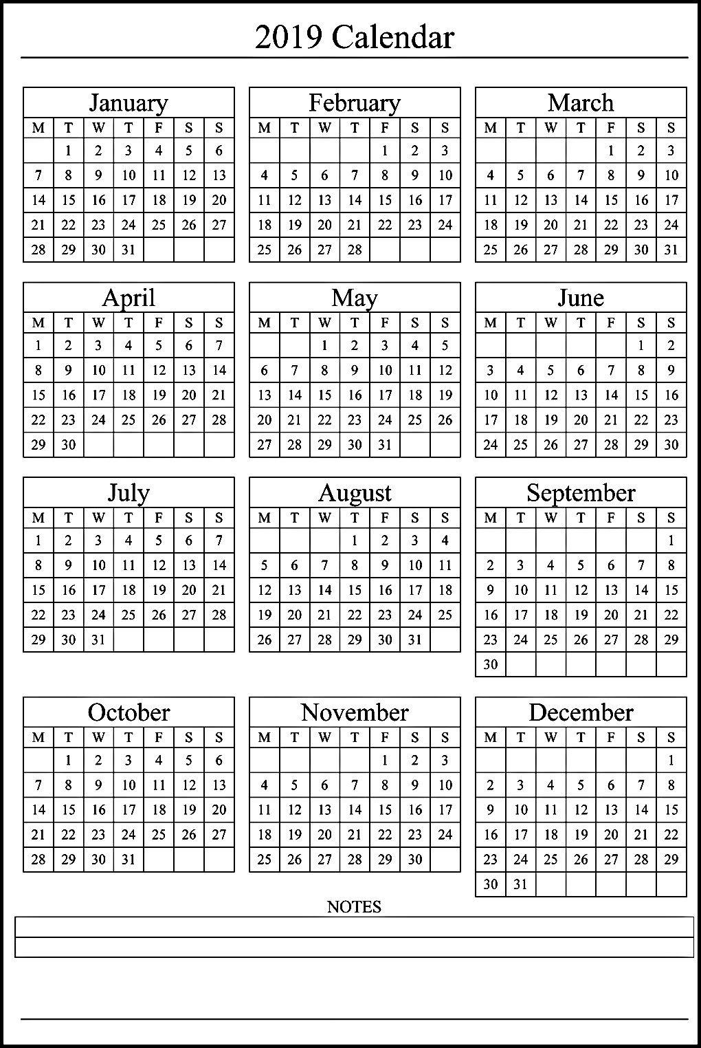 12 Month Calendar On One Page #2019Calendar #holidayscalendar inside 12 Month Calendar Template Printable