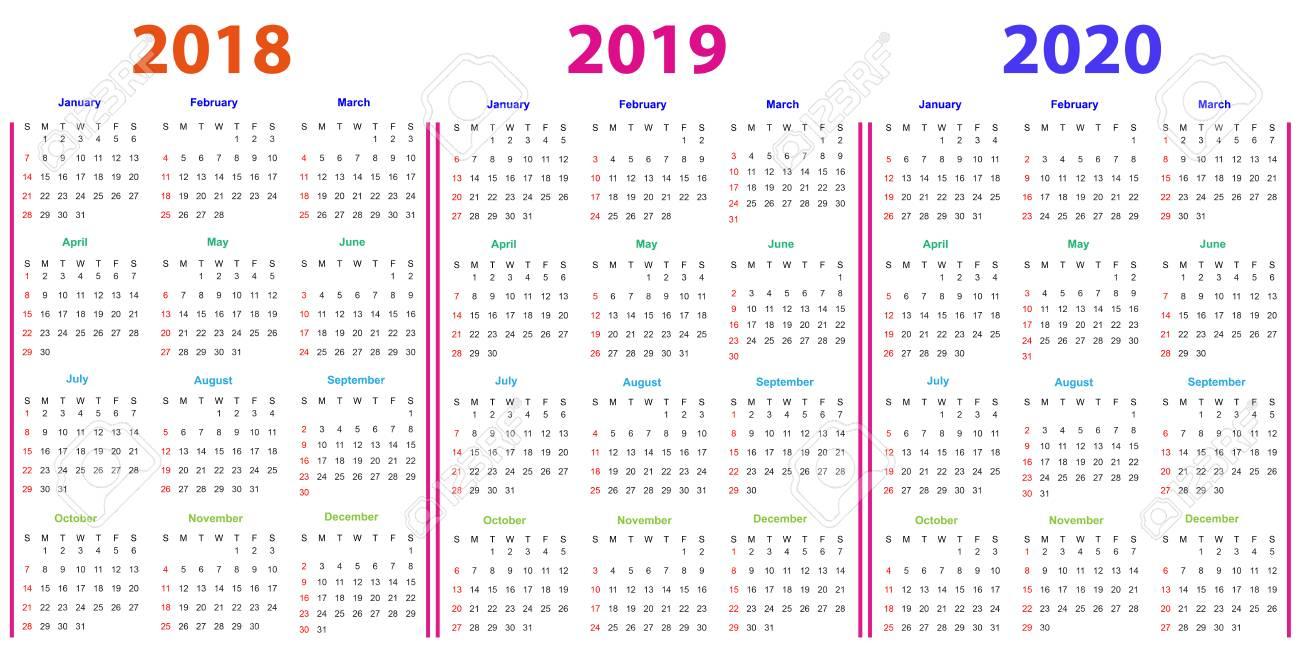 12 Months Calendar Design 2018-2019-2020 Printable And Editable. intended for 2019-2020 Blank Calendar To Print