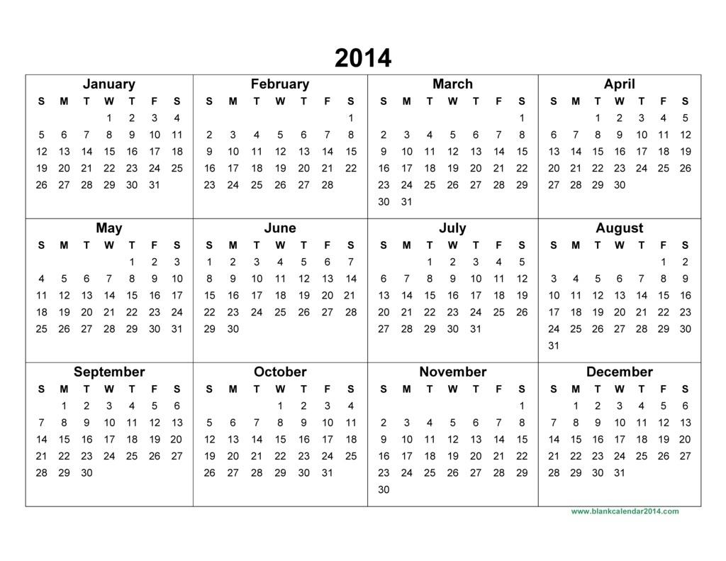 14 Full 2014 Year Calendar Template Images - Printable 2014 Calendar in 2014 12 Month Blank Calendar