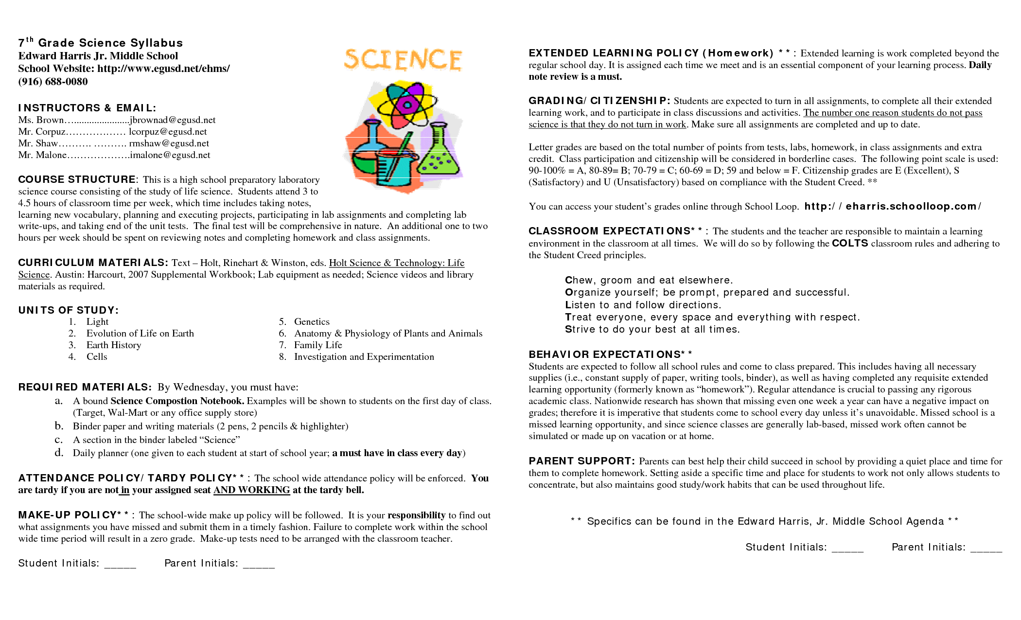 15 Awesome Syllabus Template For Middle School Images … | Syllabus intended for Homework Agenda Template 7Th Grade