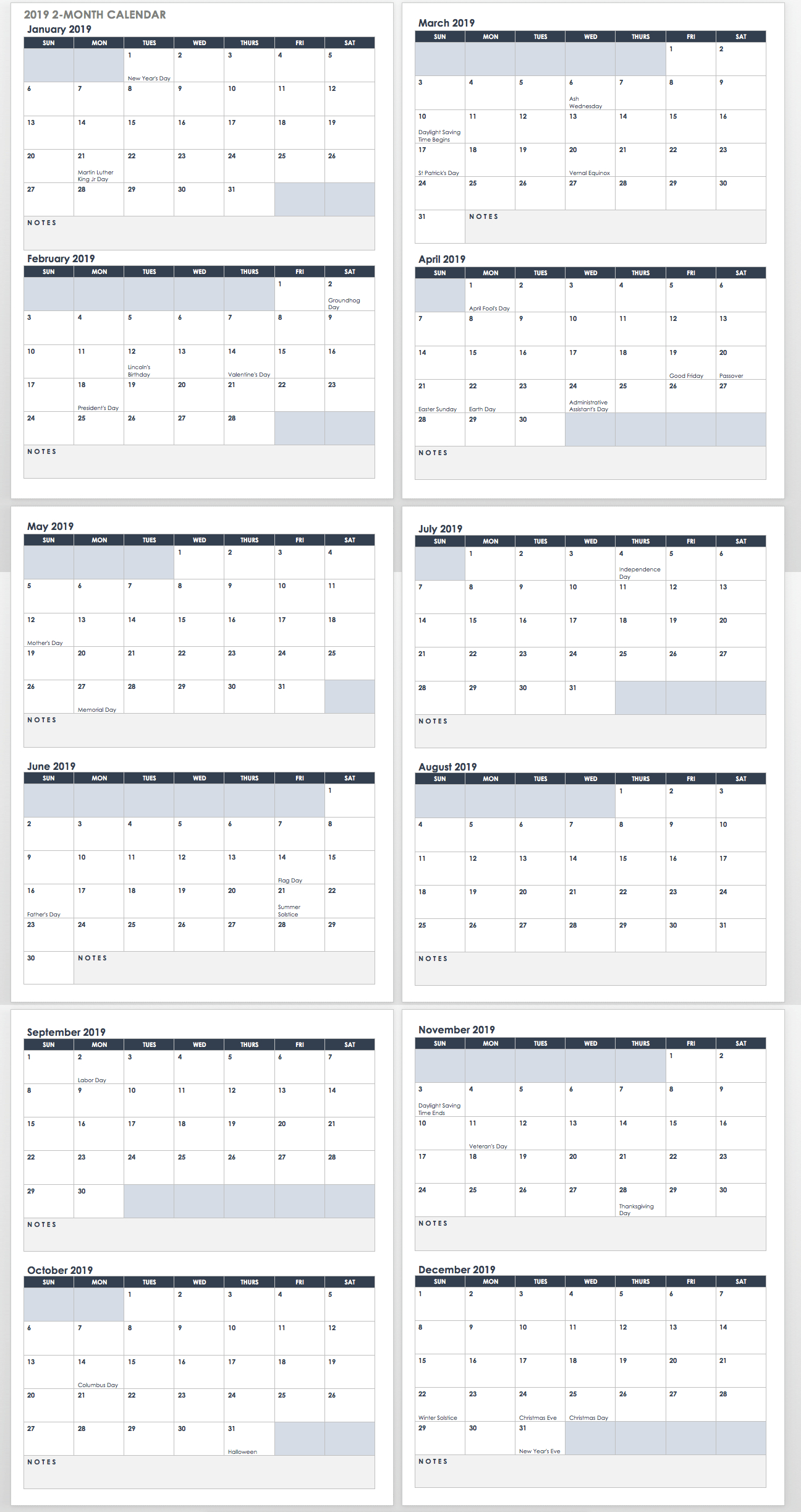 15 Free Monthly Calendar Templates | Smartsheet for 2019/2020 Academic 2 Column Calendar 2019/2020