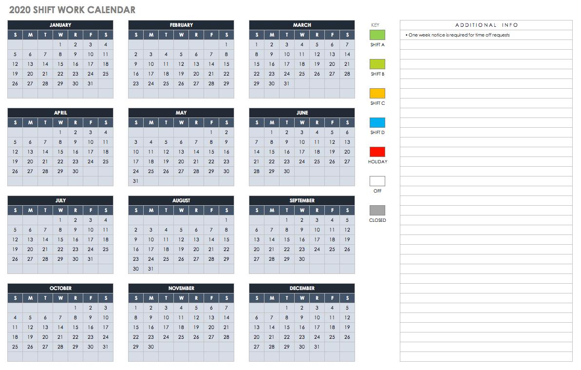 15 Free Monthly Calendar Templates | Smartsheet for Employee Attendance Calendar 2020 Prntable