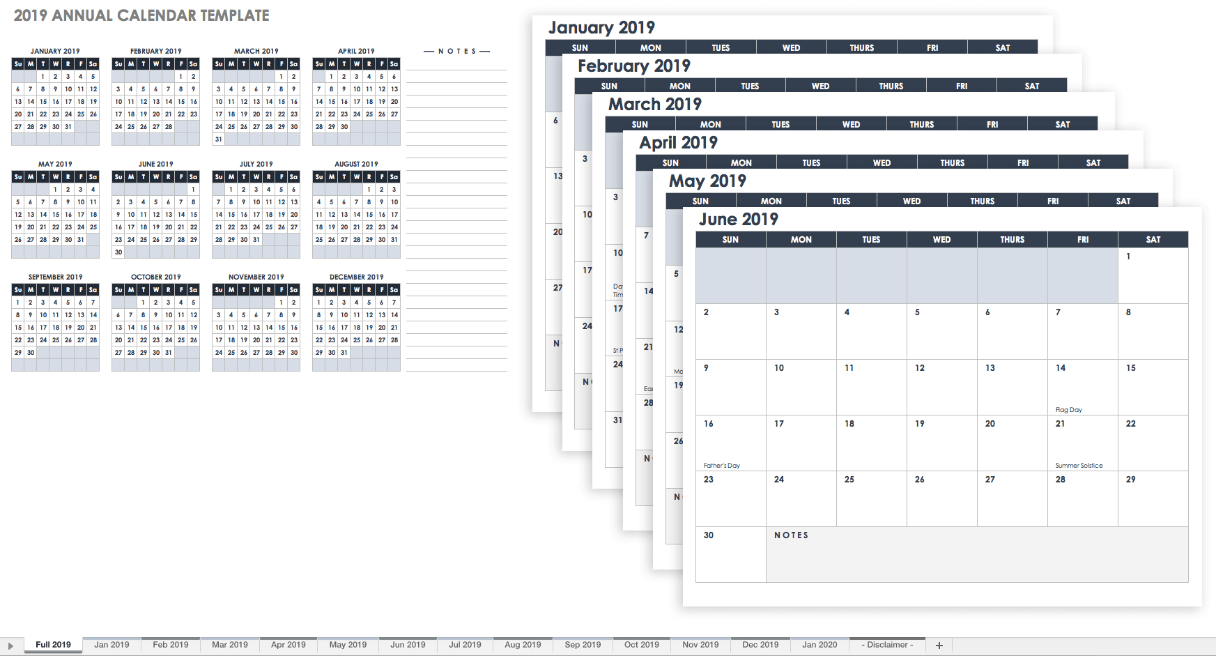 15 Free Monthly Calendar Templates | Smartsheet regarding Year At A Glance Printable Calendar 2019/2020