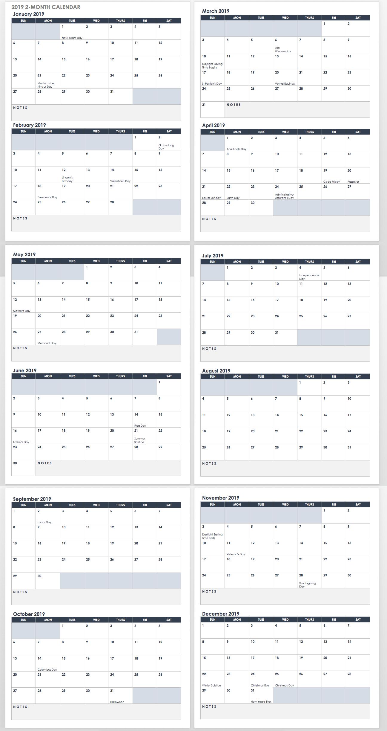 15 Free Monthly Calendar Templates | Smartsheet throughout Monthly Calendar Printable Template Notes Column