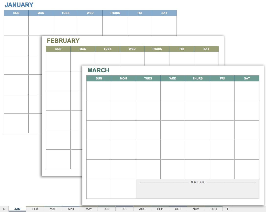 15 Free Monthly Calendar Templates | Smartsheet within 3 Month Calendar Template Printable