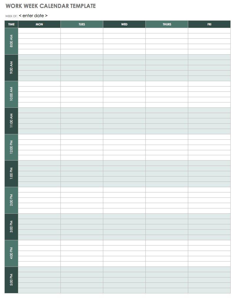 15 Free Weekly Calendar Templates | Smartsheet for Calendar Template For Work Week