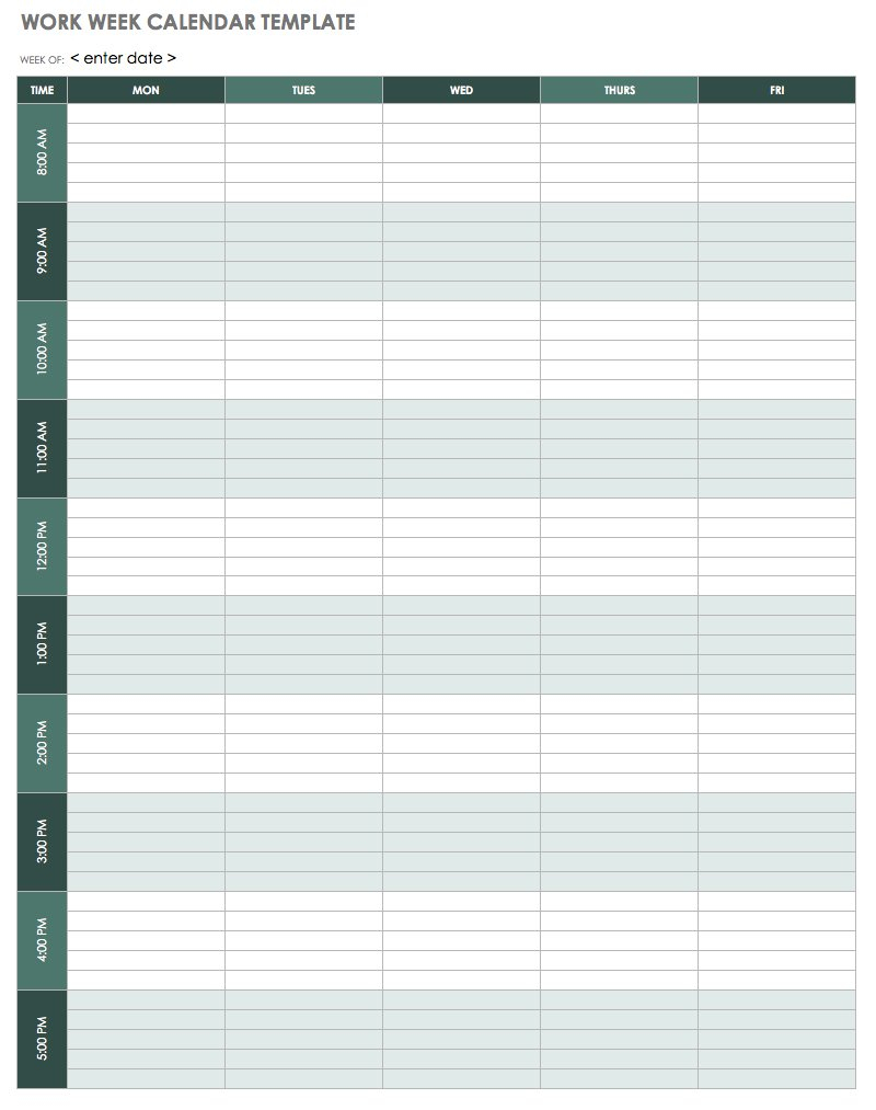 15 Free Weekly Calendar Templates | Smartsheet for Weekly Blank Calendar Monday Through Friday