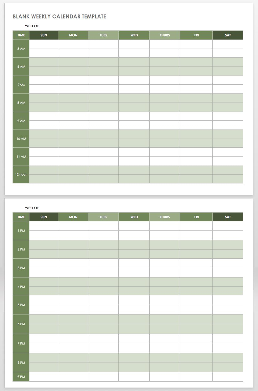 15 Free Weekly Calendar Templates | Smartsheet pertaining to Blank Printable Weekly Calendar