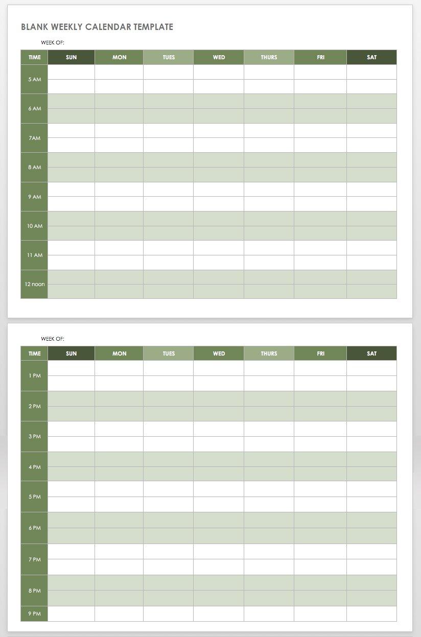 15 Free Weekly Calendar Templates | Smartsheet pertaining to Blank Weekly Am/pm Schedule Template