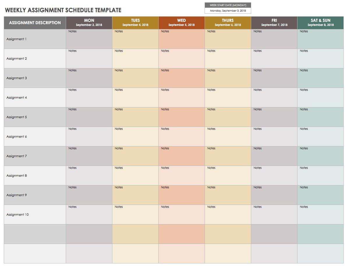 15 Free Weekly Calendar Templates | Smartsheet regarding Monday - Sunday Calendar Template