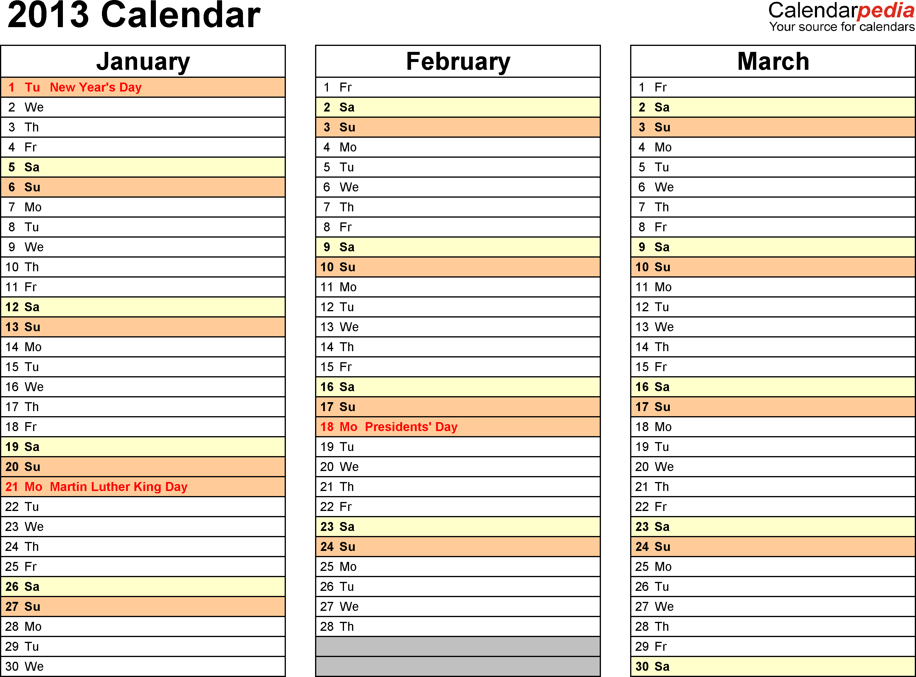 2013 Calendar Excel - 11 Free Printable Templates (Xls/xlsx) in Excel 3 Month Staff Calendar Template