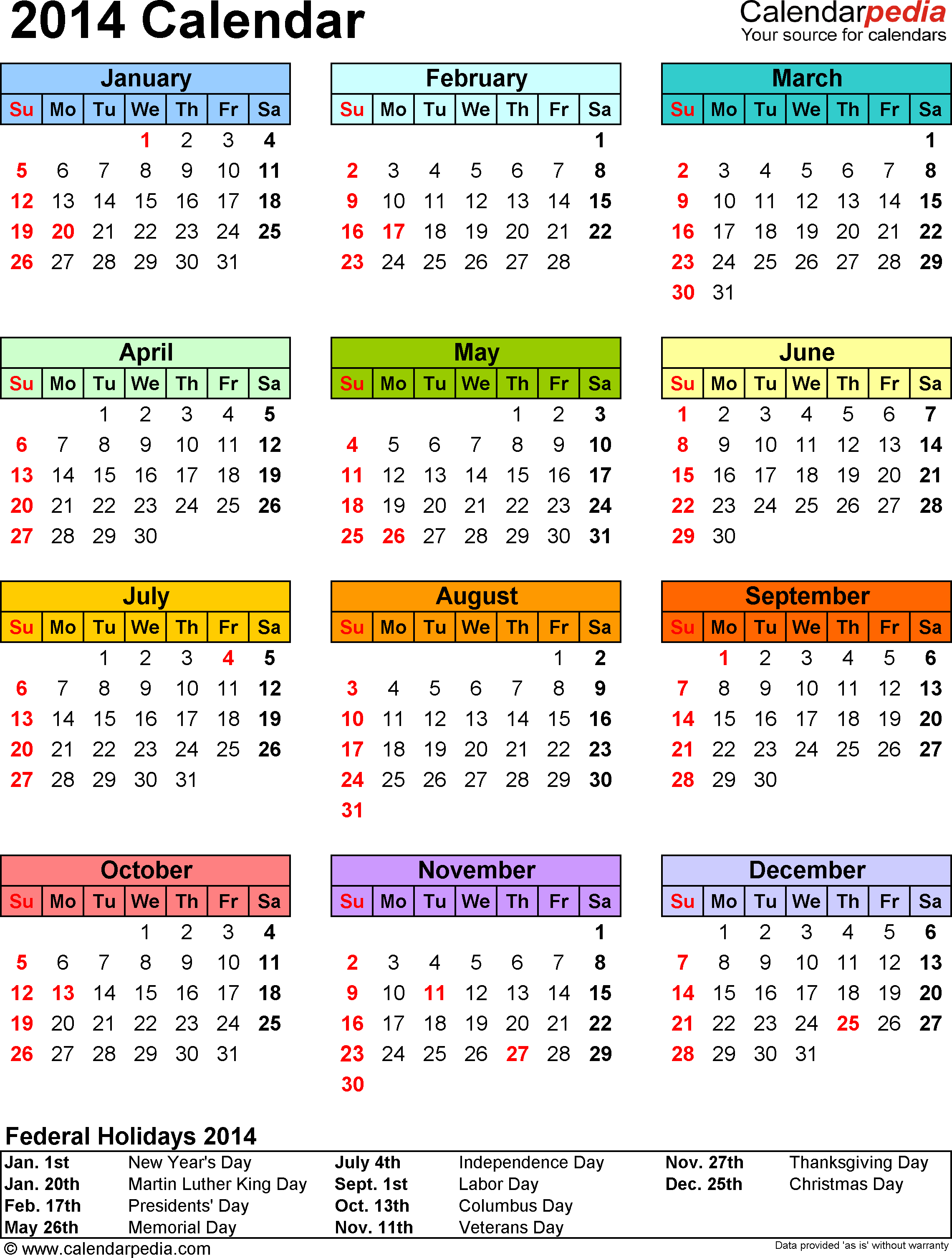 2014 Calendar - 13 Free Printable Word Calendar Templates pertaining to 2014 12 Month Blank Calendar