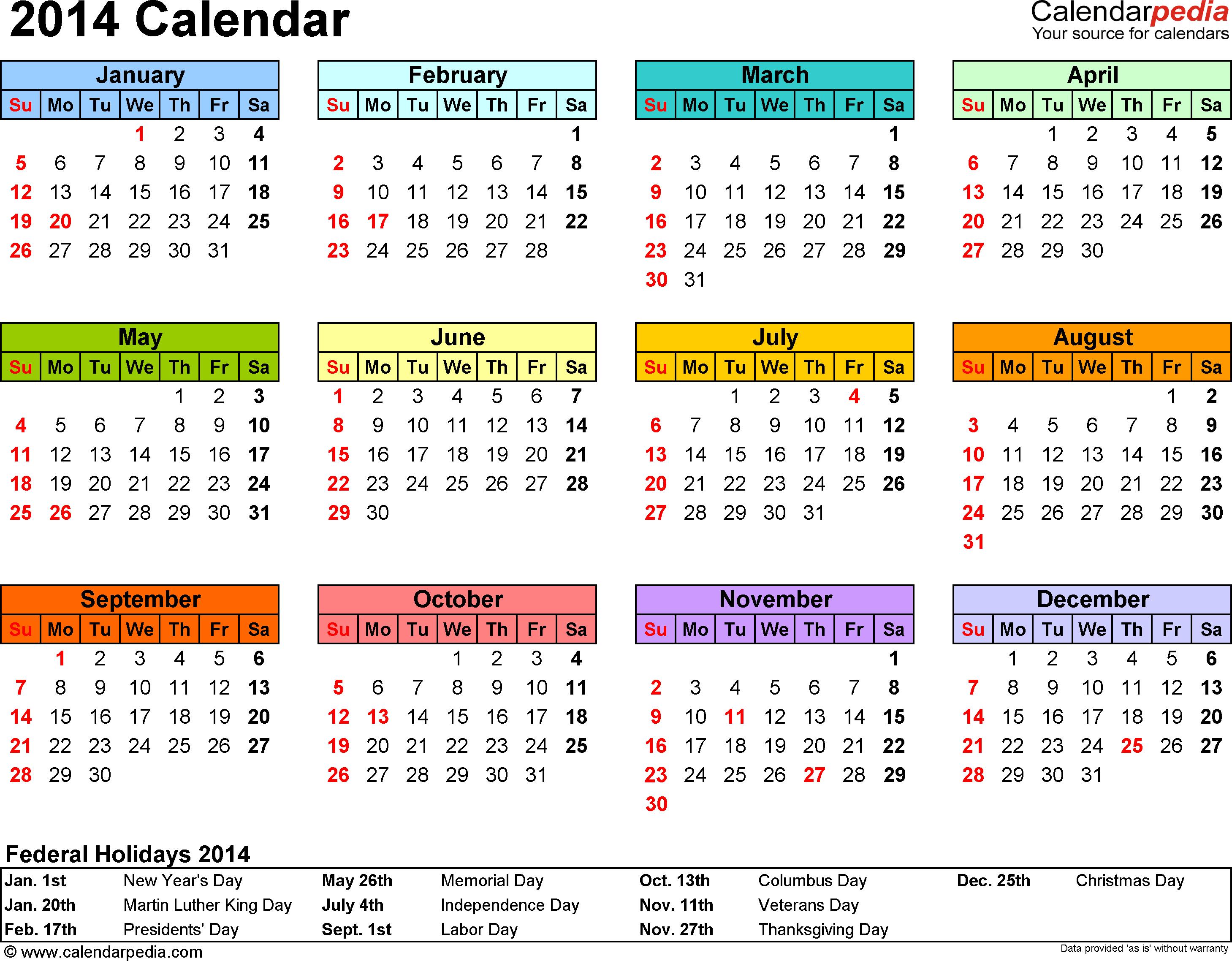 2014 Calendar - 13 Free Printable Word Calendar Templates with 2014 12 Month Blank Calendar
